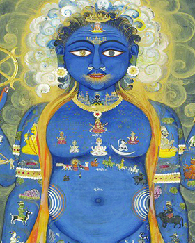 IS.33-2006 Painting Vishnu as Vishvarupa (cosmic or universal man); Vishnu as Cosmic man, watercolour on paper, early 19th century, Jaipur. Jaipur Ca. 1800-1820 Watercolour on paper