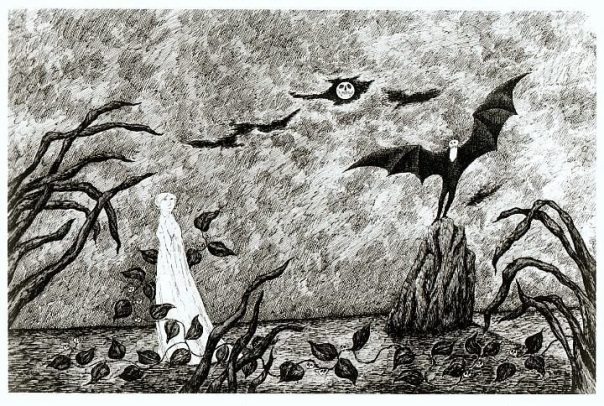 Edward Gorey Dracula Drop Curtain