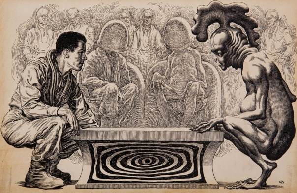 VIRGIL-FINLAY-American--1914-1971.--Jackpot---Galaxy-Science-Fiction-story-illustration--October-1956_900