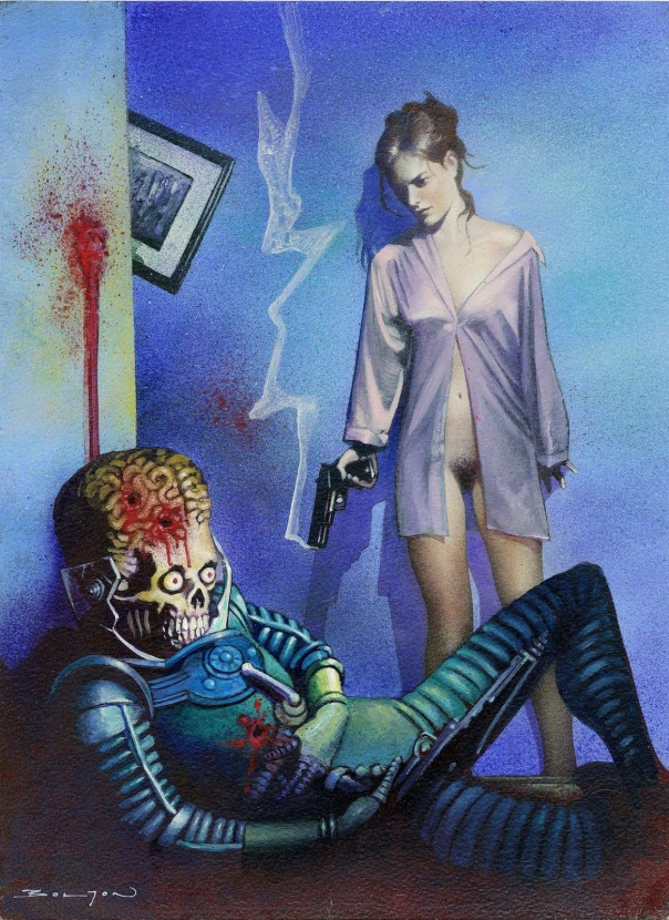 Woman Blasts Martian - Mars Attacks Archives card #80 (1994) original painting by John Bolton